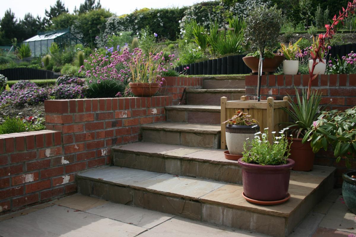 Steps in terraced garden design