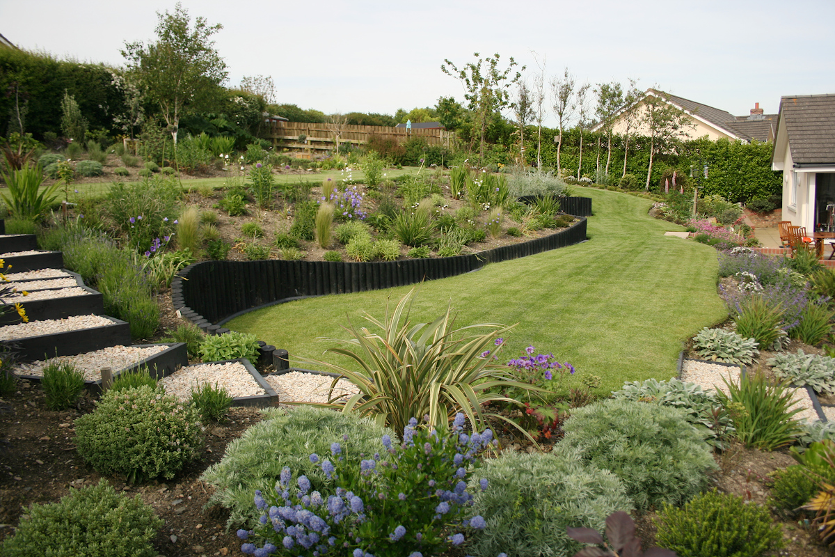 Garden design with terraces and lawn