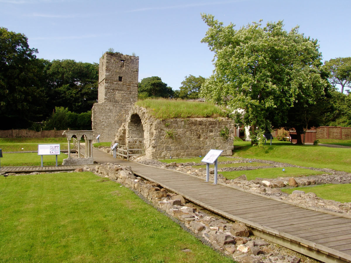 Rushen Abbey Gardens tower and ruins