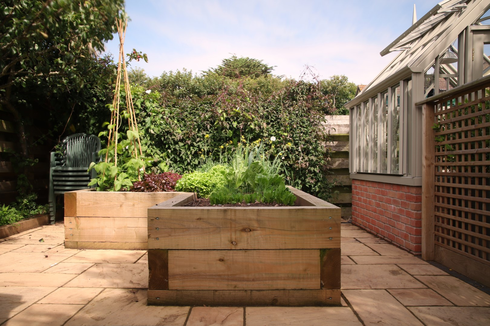 Timber raised vegetable bed